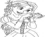 Raiponce est une princesse fille unique du roi et de la reine de son royaume dessin à colorier