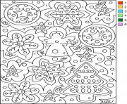 Magique Sapin de Noel Decorations Noel Chiffre Numero dessin à colorier