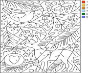 Paysage de Noel avec Renne de Noel Chiffre Numero Magique dessin à colorier