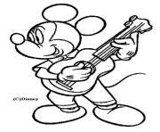 Mickey joue de la guitare dessin à colorier