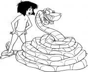 mowgli jeune eleve par les loups du livre de la jungle dessin à colorier