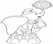 dumbo elephant au circle dessin à colorier
