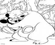 Mickey avec un ours affectueux dessin à colorier