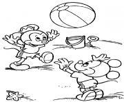Les enfants de Mickey a la plage dessin à colorier