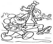 Mickey et son ami Dingo se promenent dessin à colorier