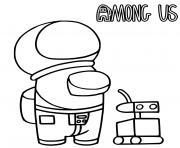 un astronaute among us et un robot dessin à colorier