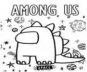 dinosaure among us dans lespace dessin à colorier