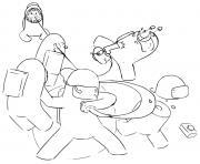 un combat entre among us dessin à colorier