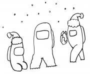 among us en hiver avec de la neige dessin à colorier