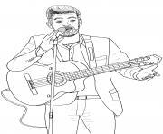 kendji girac chanteur guitariste francais vainqueur de la saison The Voice 3 dessin à colorier