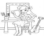 star en preparation pour son spectacle de musique dessin à colorier