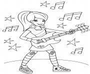 chanteuse star de la musique fille guitare dessin à colorier