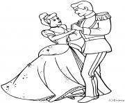cendrillon et son prince charmant dessin à colorier