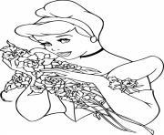 cendrillon recoit un bouquet de roses et de fleurs dessin à colorier