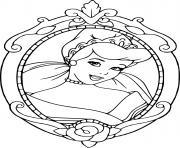 visage de cendrillon cadre dessin à colorier