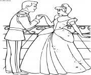 cendrillon et son prince dessin à colorier
