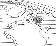 cendrillon au bal descend les escaliers dessin à colorier
