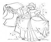 magie du bal avec princesse cendrillon dessin à colorier