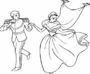 cendrillon et son prince charmant royaume dessin à colorier