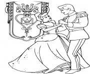 grand bal cendrillon et son prince dessin à colorier