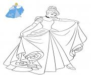Coloriage Princesse Disney Cendrillon en robe