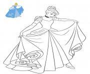 Princesse Disney Cendrillon en robe dessin à colorier