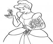 cendrillon avec de jolies fleurs dessin à colorier