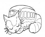 Chat bus se repose pour la grande aventure dessin à colorier