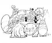 Totoro avec Chat Bus by Studio Ghiblis dessin à colorier