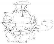 Totoro et ses amis dessin à colorier