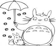 mon voisin totoro avec un parapluie dessin à colorier