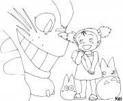 Totoro et Mei Lusaka dessin à colorier