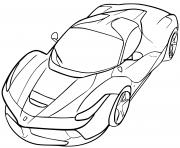 Voiture Ferrari GTC4 Puissante 690 chevaux dessin à colorier