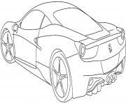 derriere de la ferrari turbo vitesse dessin à colorier
