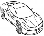 Voiture Ferrari 488 GTB Spider dessin à colorier