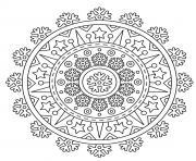 noel mandala mandala etoiles flocons de neiges dessin à colorier