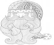 visage pere noel mandala zen dessin à colorier