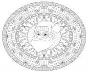 pere noel en mandala cercle anti stress dessin à colorier