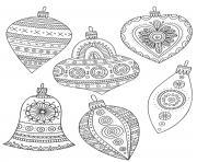 noel pour adulte motif ornaments dessin à colorier