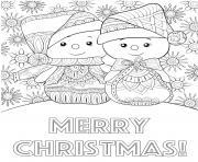 bonhomme de neige mandala et joyeux noel dessin à colorier
