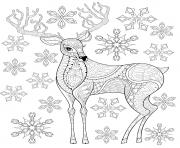 renne de noel avec des flocons de neige dessin à colorier