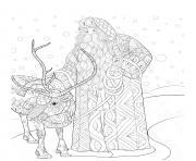 renne de noel et pere noel sous un paysage de neige fabuleux mandala zen dessin à colorier