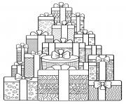 une panoplie de cadeaux pour noel anti stress dessin à colorier