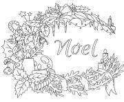 couronne de noel decorations anti stress dessin à colorier