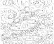 noel mandala fond de sapin et vagues dessin à colorier