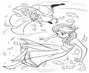 Reine des Neiges 2 Anna et Elsa dnas une tournade de glace dessin à colorier