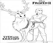 Reine des Neiges 2 Sven et Kristoff recherchent la princesse Elsa dessin à colorier