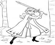 Anna avec une epee pour defendre le royaume dessin à colorier