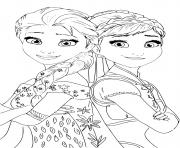 Elsa Anna Princess de Reine des Neiges 2 dessin à colorier