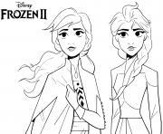 Elsa Anna Reine des Neiges 2 Disney dessin à colorier